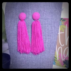Large Hot Pink Tassle Statement Earrings
